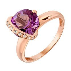 Кольцо из красного золота с аметистом и фианитами 000132002