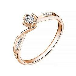 Золотое помолвочное кольцо в красном цвете с асимметричной шинкой и бриллиантами, 0,09ct 000070597