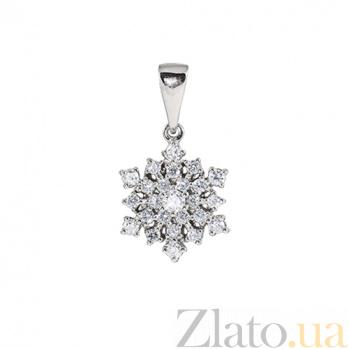 Золотой подвес с бриллиантами Снежинка  KBL--П154/бел/брил