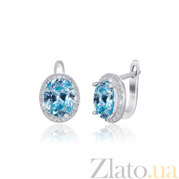 Серьги из серебра Полидора с голубыми и белыми фианитами 000024590