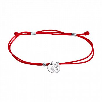 Браслет из красной шелковой нити с серебряной вставкой My Happiness 000067729
