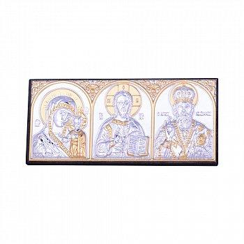 Автомобильная икона триптих с серебрением и позолотой 000131704