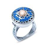 Серебряное кольцо с эмалью и вставкой золота Василек