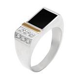 Серебряное кольцо с золотой вставкой, ониксом и цирконием Зевс