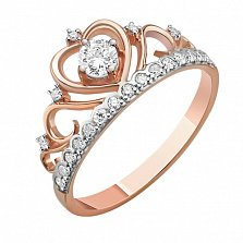 Кольцо из красного золота Каприз королевы с бриллиантами