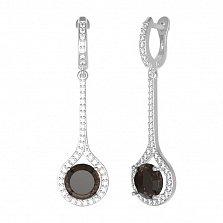 Серебряные серьги Фиона с раухтопазом и фианитами