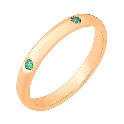 Серебряное кольцо с позолотой и зелеными фианитами 000028218