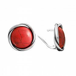 Серебряные серьги Кровавый глаз с имитацией коралла
