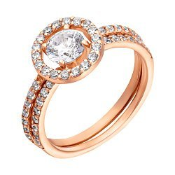 Золотое наборное кольцо в красном цвете с дорожками фианитов 000096046