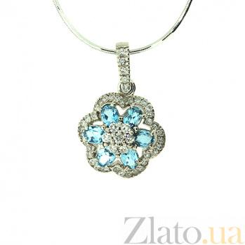 Подвес из белого золота с бриллиантами и топазами Кларетта 000021546