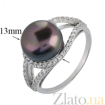 Серебряное кольцо Алевтина с черным жемчугом 1716/9р ч жем