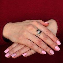 Серебряное кольцо Нежные ветви с гранатами, кристаллами зеленого кварца и фианитами