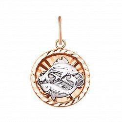 Золотая подвеска Рыбы в комбинированном цвете 000133628