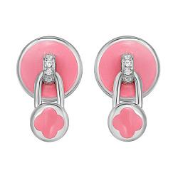 Серебряные серьги-пуссеты Замочки с клевером с подвесками, розовой эмалью и фианитами 000105934