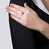 Серебряное кольцо Розитта с рубином и фианитами