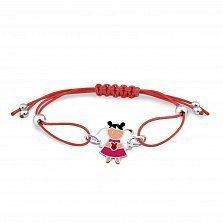 Шелковый красный детский браслет Девочка-ангел с серебряными элементами и разноцветной эмалью