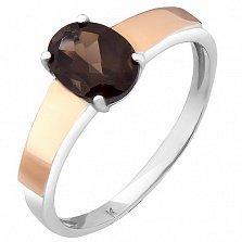 Серебряное кольцо Кавал со вставкой золота и дымчатым кварцем