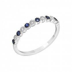 Золотое кольцо в комбинированном цвете с бриллиантами и сапфирами 000114590