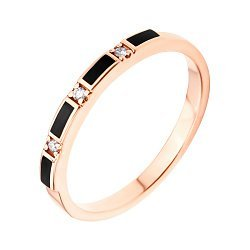 Золотое кольцо Эстер с прямоугольниками черной эмали и бриллиантами
