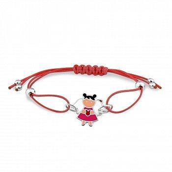 Шелковый красный детский браслет Девочка-ангел с серебряными элементами и разноцветной эмалью 000114