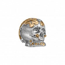 Кулон-шарм из серебра Таинственный череп в узорах с родированием и частичной позолотой