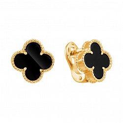 Золотые серьги Марго с черным агатом в стиле Ван Клиф