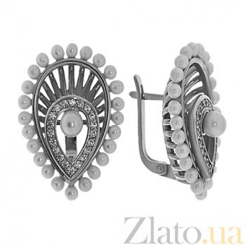Серебряные серьги с жемчугом и фианитами Венера TNG--430754С