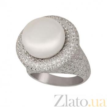 Кольцо из белого золота Монарх с жемчужиной и фианитами VLT--ТТ1198