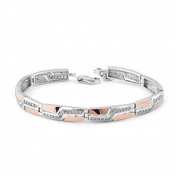 Срібний браслет з золотими накладками, фіанітами та родієм 000066719