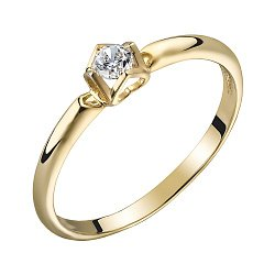 Помолвочное кольцо из желтого золота с бриллиантом 0,14ct 000034634