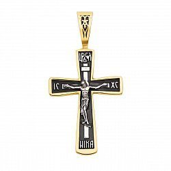 Православный серебряный крестик с позолотой и чернением 000130838