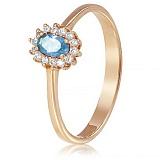 Золотое кольцо с топазом и фианитами Летнее небо