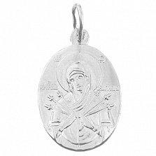 Серебряная овальная ладанка Божья Матерь Семистрельная