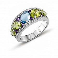 Кольцо в белом золоте Тереза с голубым топазом, аметистом и бриллиантами