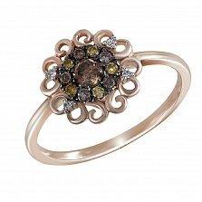 Кольцо Палани из красного золота с узорами и разноцветными бриллиантами