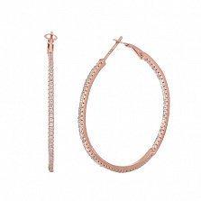 Позолоченные серебряные серьги-конго с фианитами Сотирия