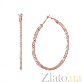 Позолоченные серебряные серьги-конго с фианитами Сотирия SLX--С3Ф/169А