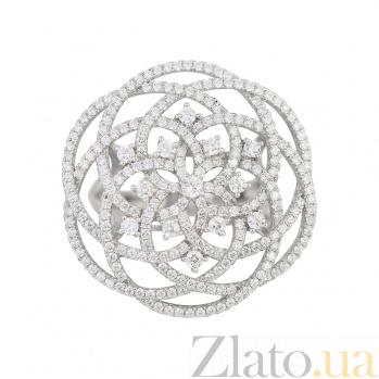 Серебряное кольцо Зимний цветок с фианитами 000081531