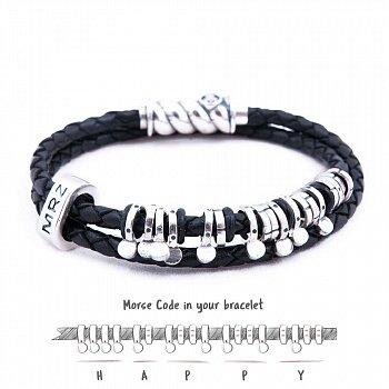 Кожаный браслет со словом Happy из серебра азбукой Морзе 000050044