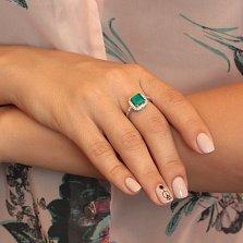 Серебряное кольцо Милана с зеленым агатом и белыми фианитами