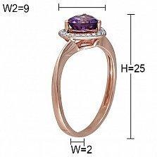 Золотое кольцо Тирея с аметистом и бриллиантами