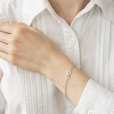 Серебряный браслет Женственная бесконечность с бабочкой и белыми фианитами