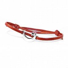 Кожаный браслет с серебром Сrescent Red с чернением