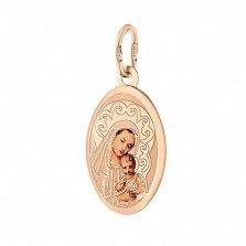 Ладанка из золота Святая Божья Матерь с образом, выполненным эмалью