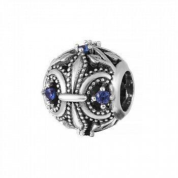 Срібний шарм Делія з синіми фіанітами 000035289