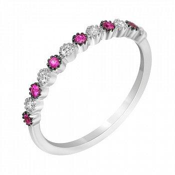 Золотое кольцо в комбинированном цвете с бриллиантами и рубинами 000114592