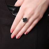 Серебряное кольцо Клэр с чёрным цирконием