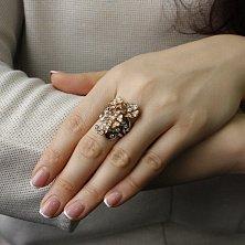 Золотое кольцо Цветочный этюд в комбинированном цвете с бриллиантами