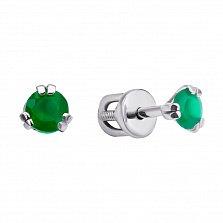 Серебряные серьги-пуссеты Трион с зелеными агатами