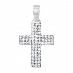 Декоративный крестик из белого золота с фианитами 000129529